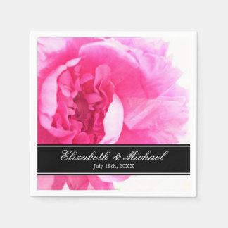 Mariage floral de pivoine rose personnalisé serviette jetable