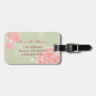 mariage floral de pivoines roses vintages élégante étiquettes pour bagages