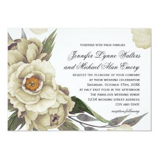 Mariage floral d'élégance de pivoines romantiques carton d'invitation  12,7 cm x 17,78 cm