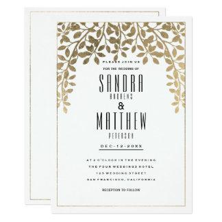 Mariage floral d'or chic blanc élégant de faux carton d'invitation  12,7 cm x 17,78 cm