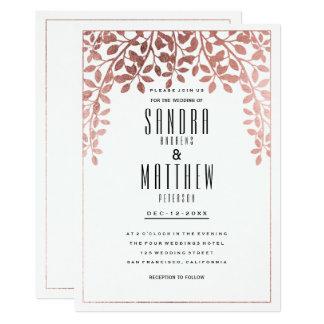 Mariage floral d'or rose élégant élégant de faux carton d'invitation  12,7 cm x 17,78 cm