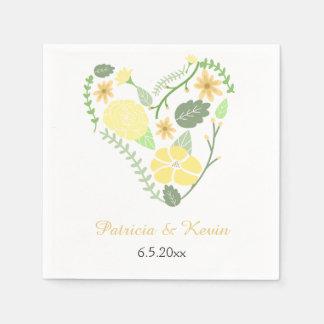 Mariage floral jaune de coeur serviette en papier