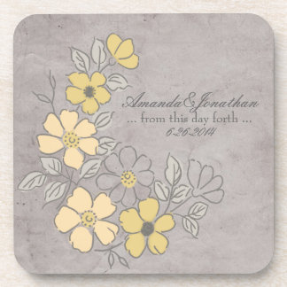Mariage floral jaune et gris vintage dessous-de-verre