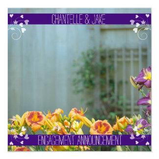 Mariage floral jaune et pourpre carton d'invitation  13,33 cm