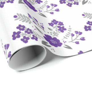 Mariage floral moderne papier cadeau
