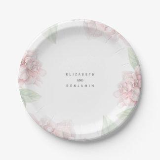 Mariage floral rose doux élégant de jardin de assiettes en papier
