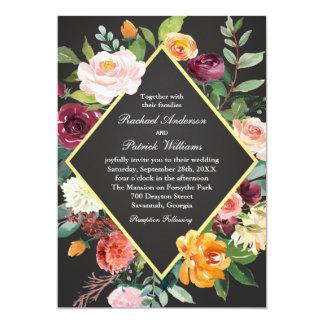 Mariage floral rustique de tableau carton d'invitation  12,7 cm x 17,78 cm
