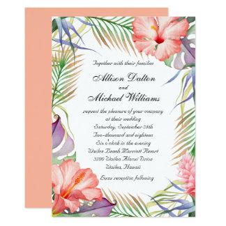 Mariage floral tropical hawaïen de Luau Carton D'invitation 12,7 Cm X 17,78 Cm