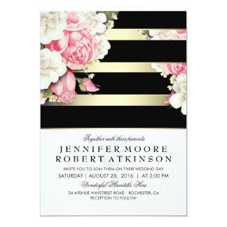 Mariage floral vintage carton d'invitation  12,7 cm x 17,78 cm