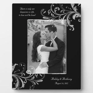 Mariage floral vintage noir et blanc de photo photo sur plaque