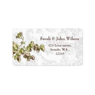Mariage floral vintage vert en ivoire chic étiquette d'adresse