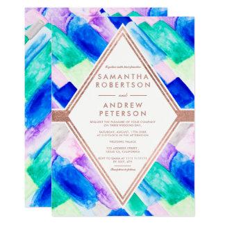 Mariage géométrique moderne d'aquarelle d'abrégé carton d'invitation  12,7 cm x 17,78 cm