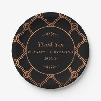 Mariage géométrique vintage de Gatsby d'art déco Assiettes En Papier