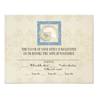 Mariage grec de cottage de plage de motif carton d'invitation 10,79 cm x 13,97 cm