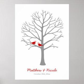Mariage gris rouge d'arbre d'empreinte digitale