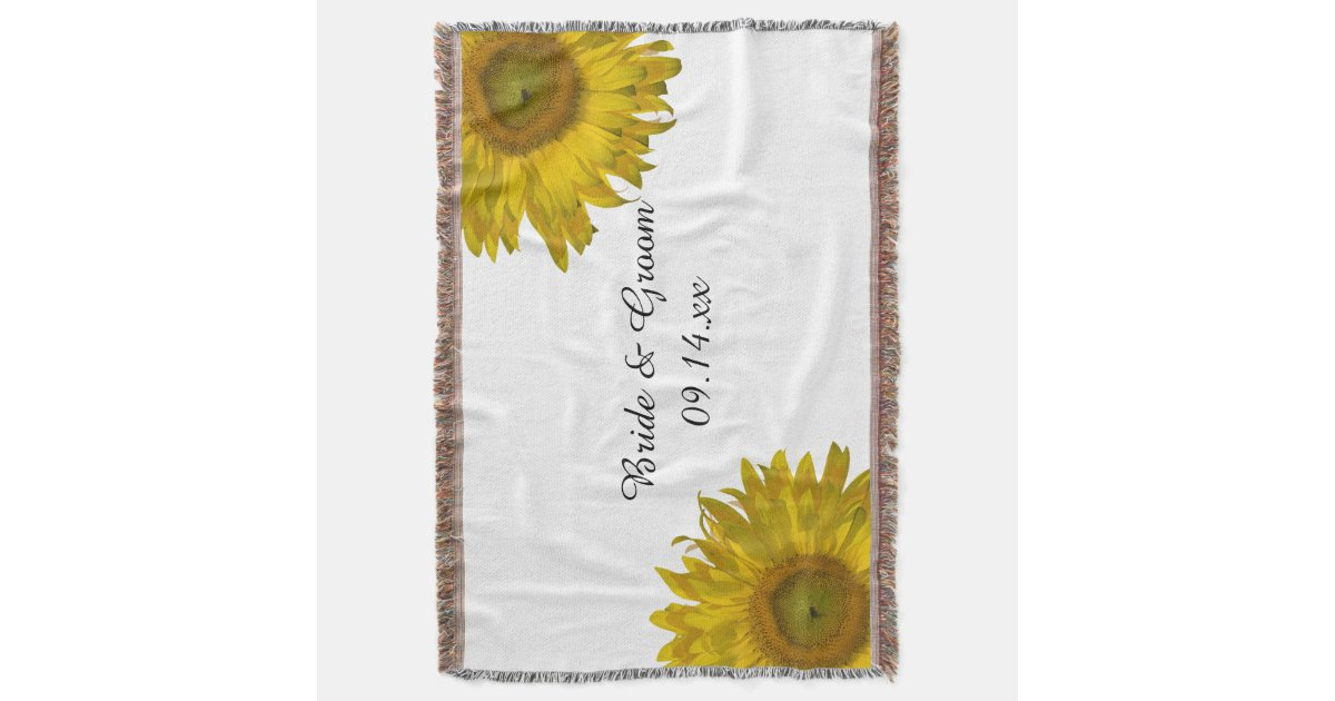 mariage jaune de tournesol couvre pied de lit zazzle. Black Bedroom Furniture Sets. Home Design Ideas