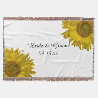 Mariage jaune de tournesol couvre pied de lit