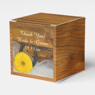 Mariage jaune en bois de marguerite et de fer à boites de faveur