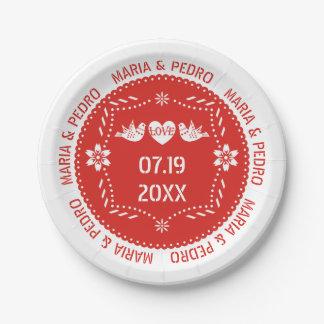 Mariage mexicain rouge d'inséparables de picado de assiettes en papier