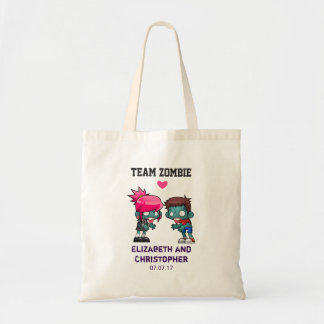 Mariage mignon de couples de zombi de zombi sac en toile budget
