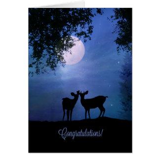 Mariage mignon de félicitations animales de faune carte de vœux