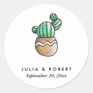 Mariage minimal rustique de cactus succulent sticker rond