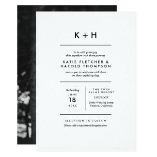 Mariage minimaliste de photo carton d'invitation  12,7 cm x 17,78 cm