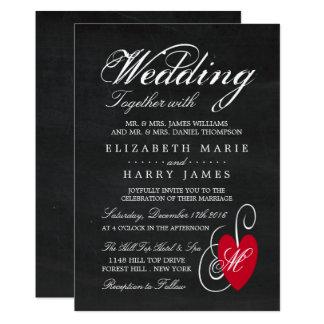 Mariage moderne de coeur de fantaisie de tableau carton d'invitation  12,7 cm x 17,78 cm