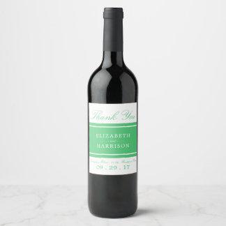 Mariage moderne de vert vert étiquette pour bouteilles de vin