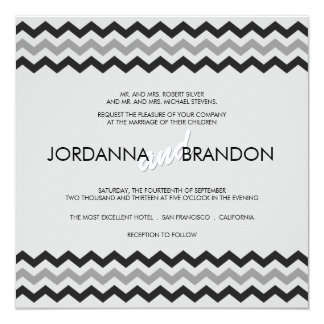 Mariage moderne en zig-zag de typographie de carton d'invitation  13,33 cm