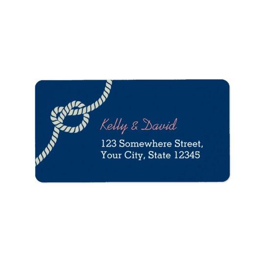 Mariage nautique de noeud de corde de bleu marine étiquette d'adresse