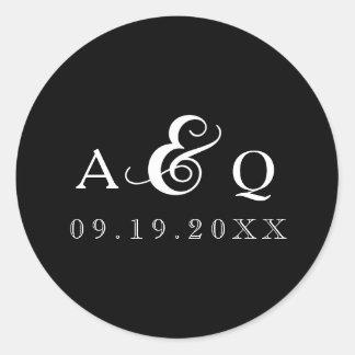 Mariage noir audacieux de monogramme sticker rond