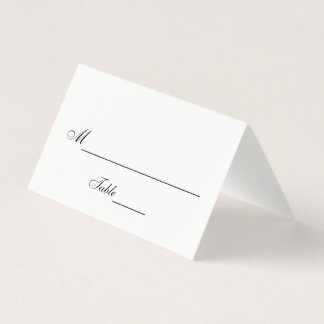 Mariage noir et blanc classique carte de placement