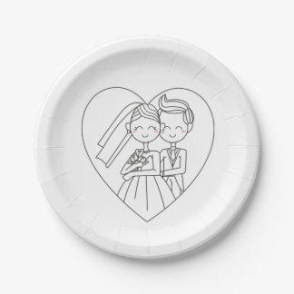 Mariage noir et blanc de jeune mariée et de marié assiettes en papier