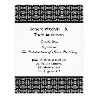 Mariage noir et blanc de motif moderne prospectus 21,6 cm x 24,94 cm