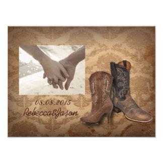 mariage occidental de cowboy de damassé rustique photographie