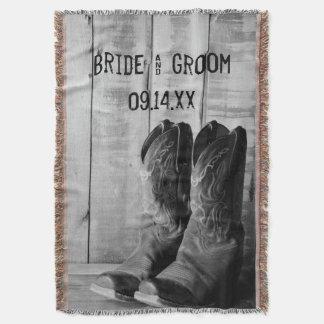 Mariage occidental rustique de bottes de cowboy couvre pied de lit