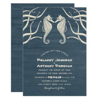 Mariage orienté de plage nautique moderne carton d'invitation  12,7 cm x 17,78 cm