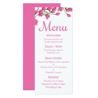 Mariage/partie fuchsia de fleur de menu rose carton d'invitation  10,16 cm x 23,49 cm