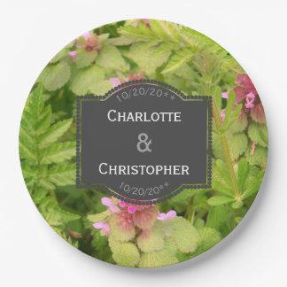 Mariage personnalisé mignon de fleur sauvage assiettes en papier