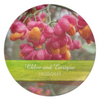 Mariage personnalisé par fleurs roses de fruit assiettes en mélamine