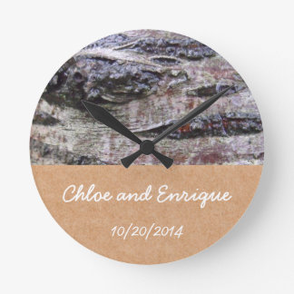 Mariage personnalisé par photo d'écorce d'arbre horloge ronde