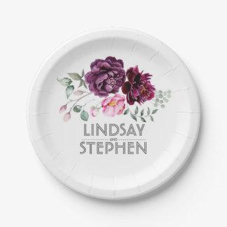Mariage pourpre de bouquet floral d'aquarelle de assiettes en papier