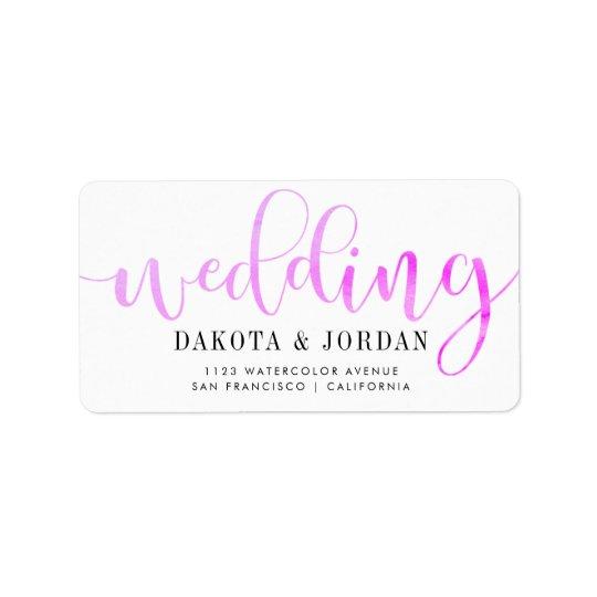 Mariage pourpre moderne d'aquarelle de la étiquettes d'adresse