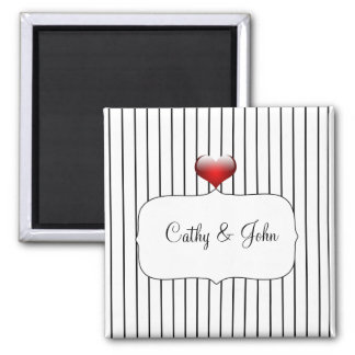 Mariage rayé noir et blanc magnet carré