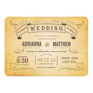 Mariage romantique de bannière vintage rustique carton d'invitation  12,7 cm x 17,78 cm