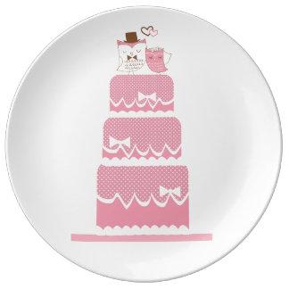 Mariage rose assiette en porcelaine