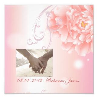 Mariage rose botanique de pivoine de ressort impression photo