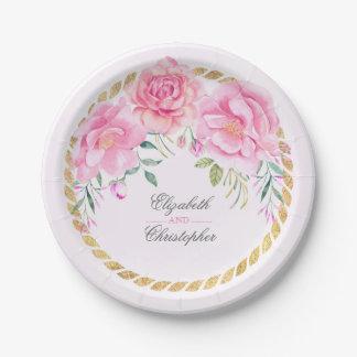 Mariage rose de bouquet floral d'aquarelle assiettes en papier