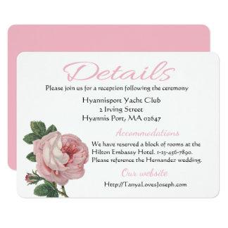 Mariage rose de fleur de rose de direction vintage carton d'invitation  11,43 cm x 15,87 cm